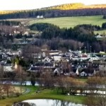 Aberlour from across the  river Spey